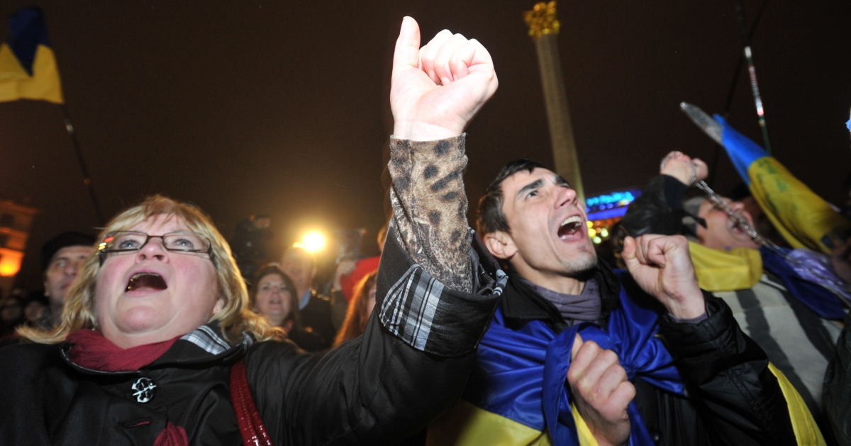 Pro-European activists on Independence Square on Friday.</p>