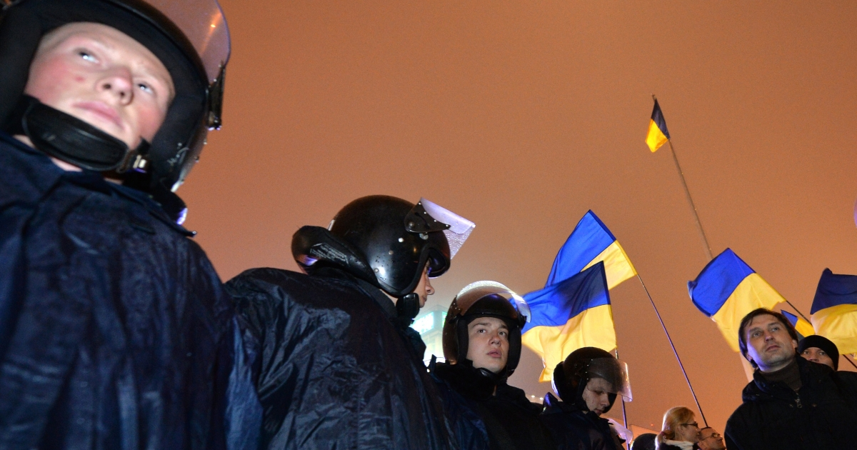 Riot police at a pro-European protest in Kiev on Nov. 22, 2013 following the Ukraine government's decision to delay signing a landmark free trade agreement with the EU.</p>