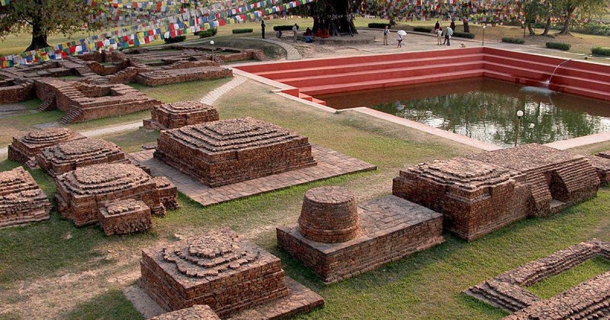 The Lumbini shrine in southern Nepal.</p>