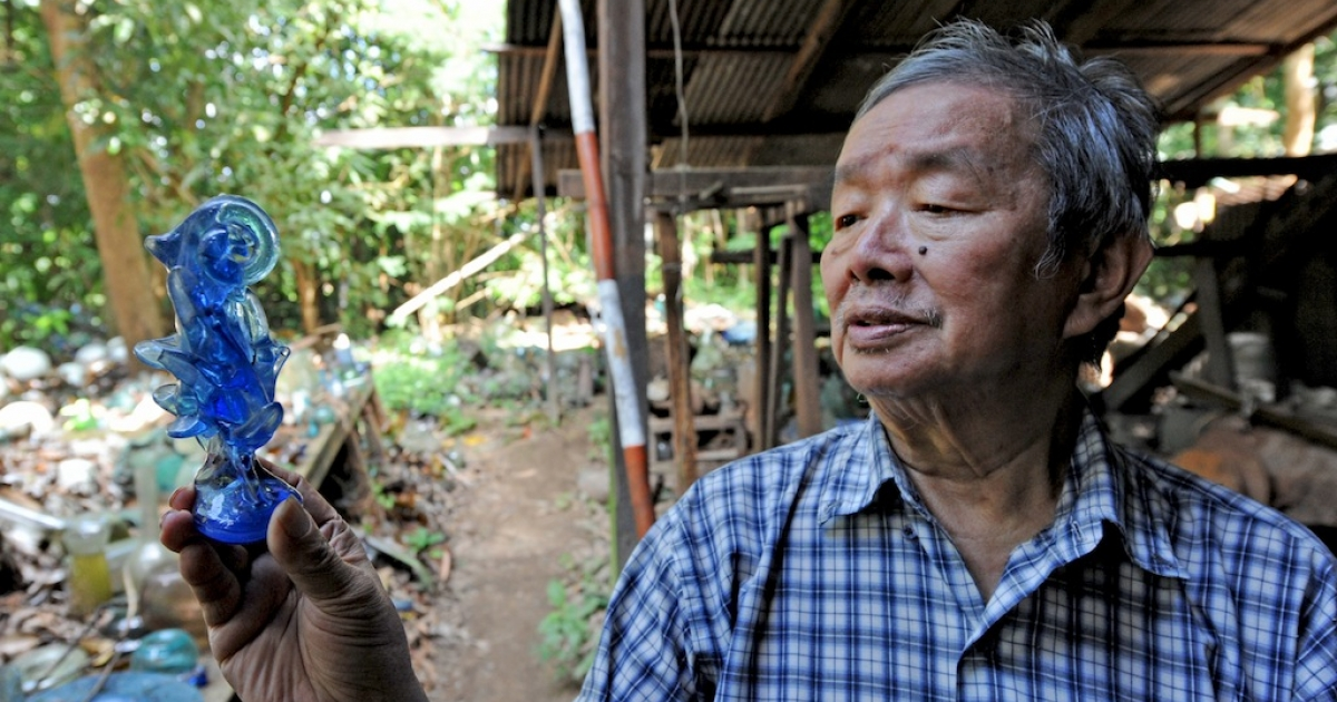 Five years after losing his life's work to Cyclone Nargis, glass factory owner Myat Kywe gets by selling glass scattered across acres of his property.</p>
