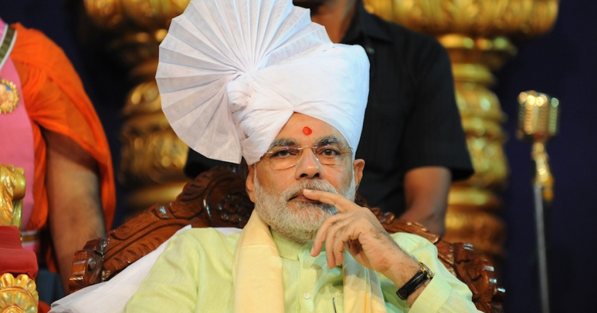 Chief Minister of Western India's Gujarat state, Narendra Modi during an event to launch the DVD's of a TV series of Lord Swaminarayan, on October 31, 2013. Many executives think Modi's election to prime minister would spur growth and investment.</p>