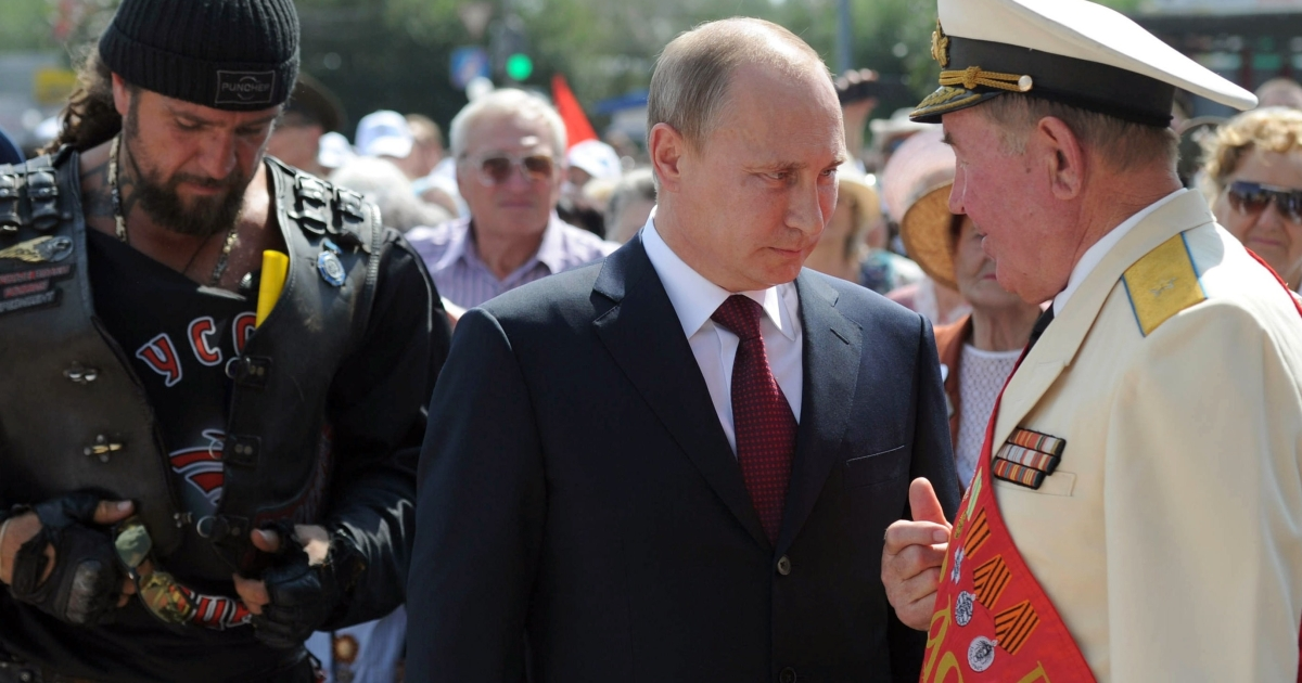 "Putin speaks with WWII veterans accompanied by the head of the Russian Bikers' Association. ""They think whoever wins the battle for history wins in the battle of life,"" one Kremlin critic says.</p>"