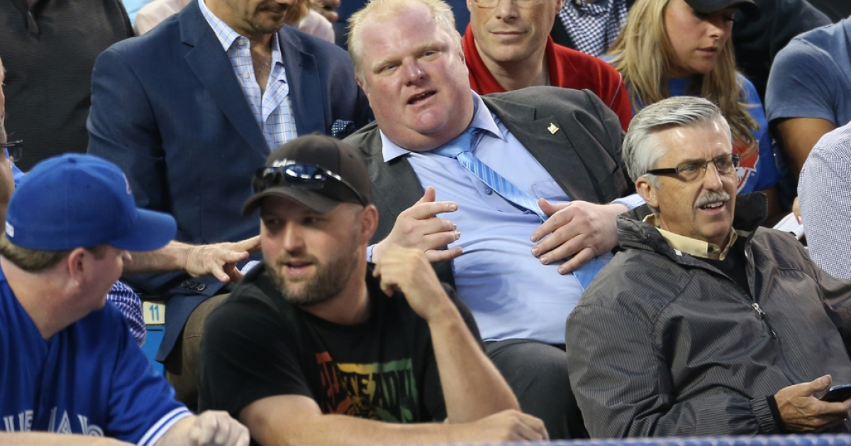 Toronto Mayor Rob Ford watches a Toronto Blue Jays baseball game against the Los Angeles Dodgers on July 24, 2013 at Rogers Centre in Toronto, Ontario, Canada.</p>