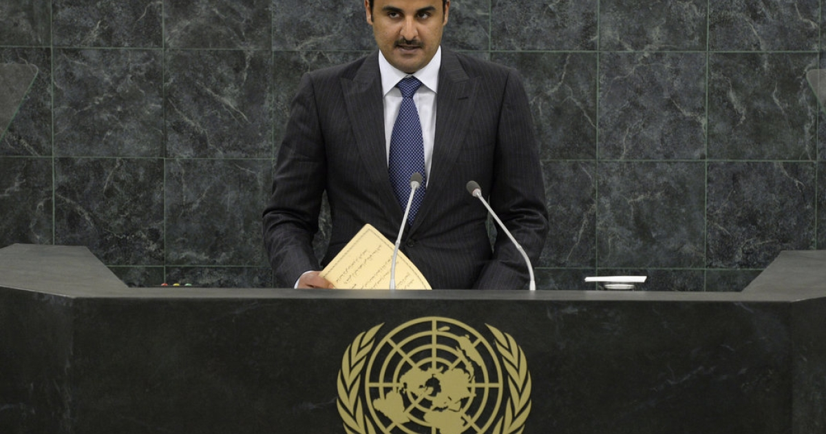Emir of Qatar Sheikh Tamim bin Hamad Al Thani addresses the 68th United Nations General Assembly on September 24, 2013 in New York City.</p>