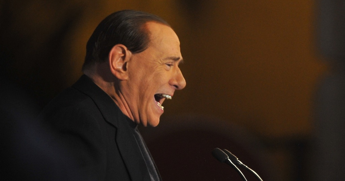 Former Italian Prime Minister Silvio Berlusconi delivers a speech outside his private residence in Rome on Wednesday.</p>