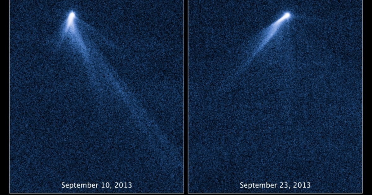 This NASA Hubble Space Telescope set of images reveals a never-before-seen set of six comet-like tails radiating from a body in the asteroid belt, designated P/2013 P5.The asteroid was discovered as an unusually fuzzy-looking object with the Panoramic Survey Telescope and Rapid Response System (Pan-STARRS) survey telescope in Hawaii. The multiple tails were discovered in Hubble images taken on Sept. 10, 2013. When Hubble returned to the asteroid on Sept. 23, the asteroid's appearance had totally changed. It looked as if the entire structure had swung around.</p>