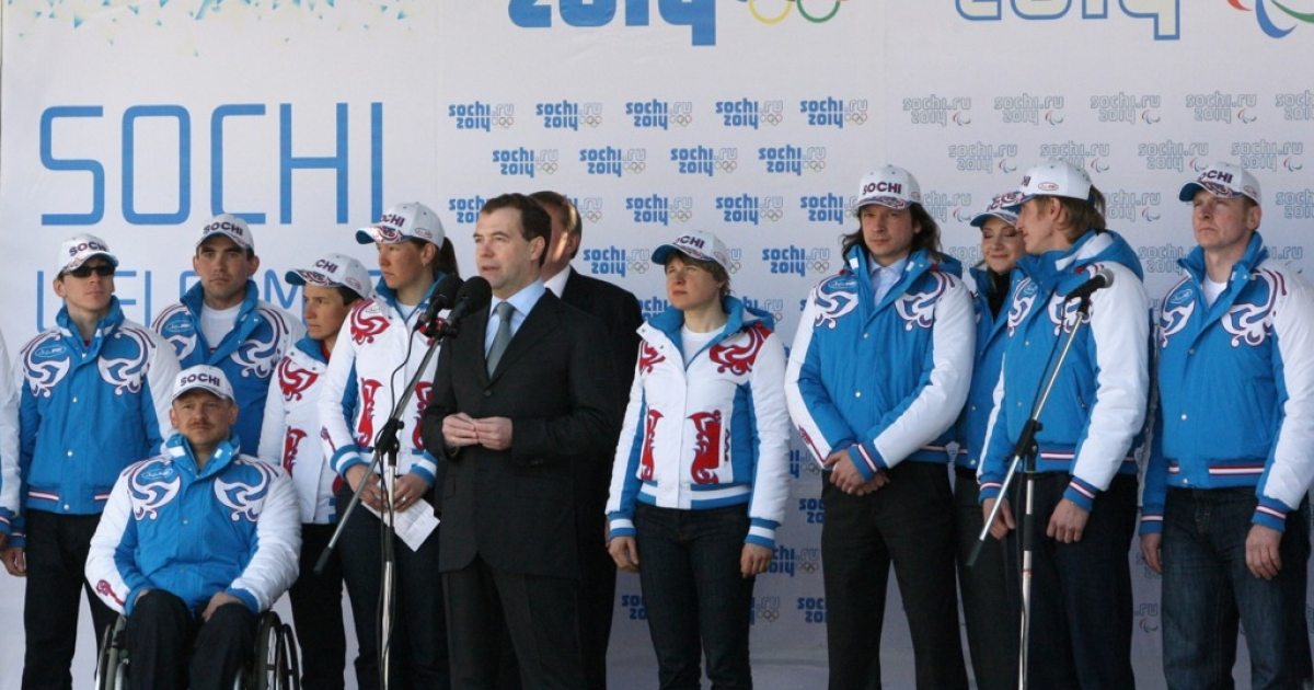 Russia's then-President Dmitry Medvedev spoke during a ceremony in Sochi on March 26, 2010 with members of the Russian winter Paralympics team. The Black Sea resort city of Sochi will host the 2014 Winter Olympic and Paralympic games.</p>
