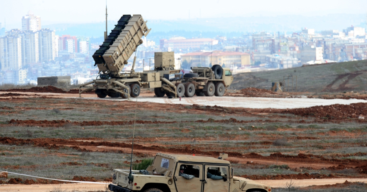 A Patriot missile launcher system is pictured at a Turkish military base in Gaziantep on February 5, 2013. Turkey has asked NATO to extend to extend the missiles' deployment for another year.</p>
