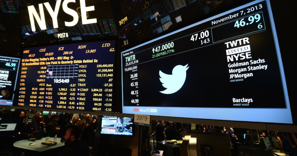 A screen at the New York Stock Exchange displays the Twitter logo and share price on its first day as a publicly traded company.</p>