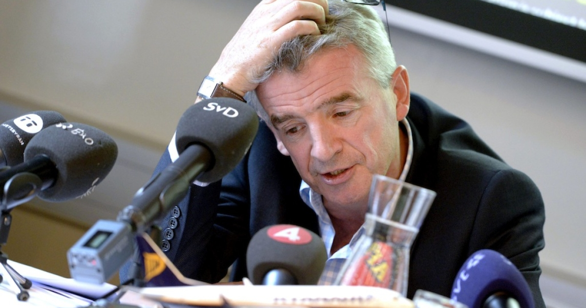 Michael O'Leary, Chief Executive Officer of Irish airline Ryanair, is pictured during a press conference at the Scandic Grand Central Hotel in Stockholm, Sweden on August 29, 2013.</p>