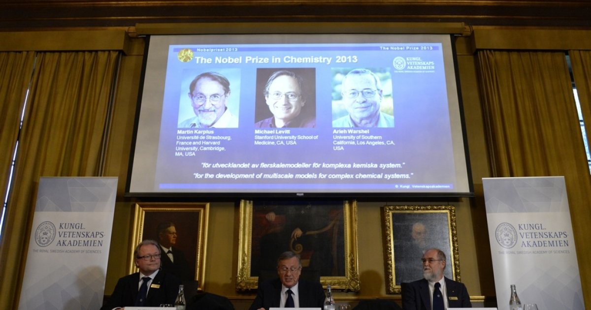 The jury announces the winners of the 2013 Nobel Prize for Chemistry at the Royal Swedish Academy of Sciences in Stockholm, October 9, 2013.</p>