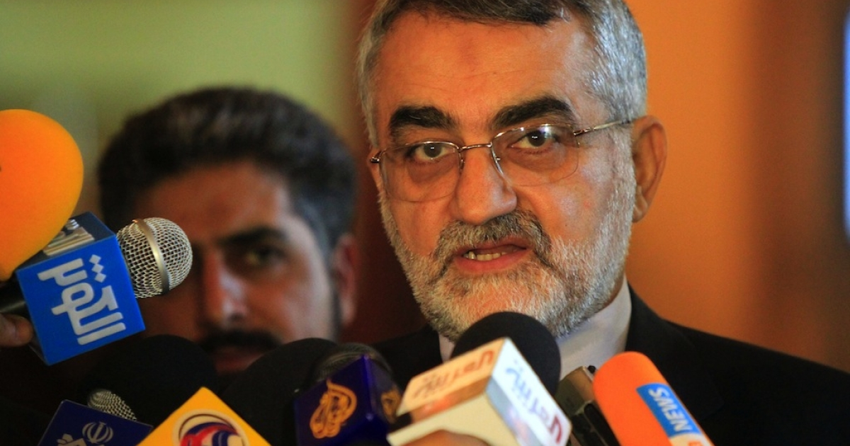 Alaeddin Boroujerdi, Chairman of Iran's Parliament Committee of National Security and Foreign Policy, talks to journalists on Aug. 9, 2011.</p>