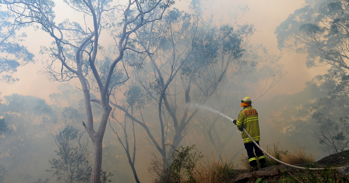 A firefighter hoses down the flames at Faulconbridge in the Blue Mountains on October 22, 2013.</p>