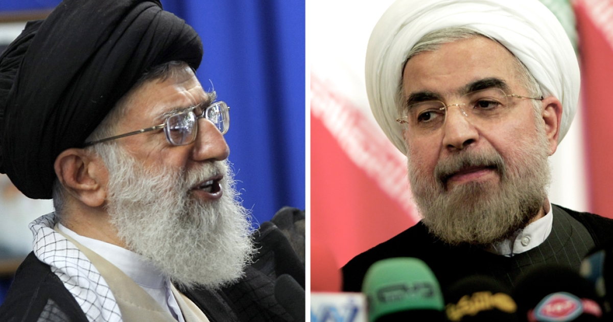 Iran's supreme leader Ayatollah Ali Khamenei on the left, and the country's newly elected president, Hassan Rouhani on the right.</p>
