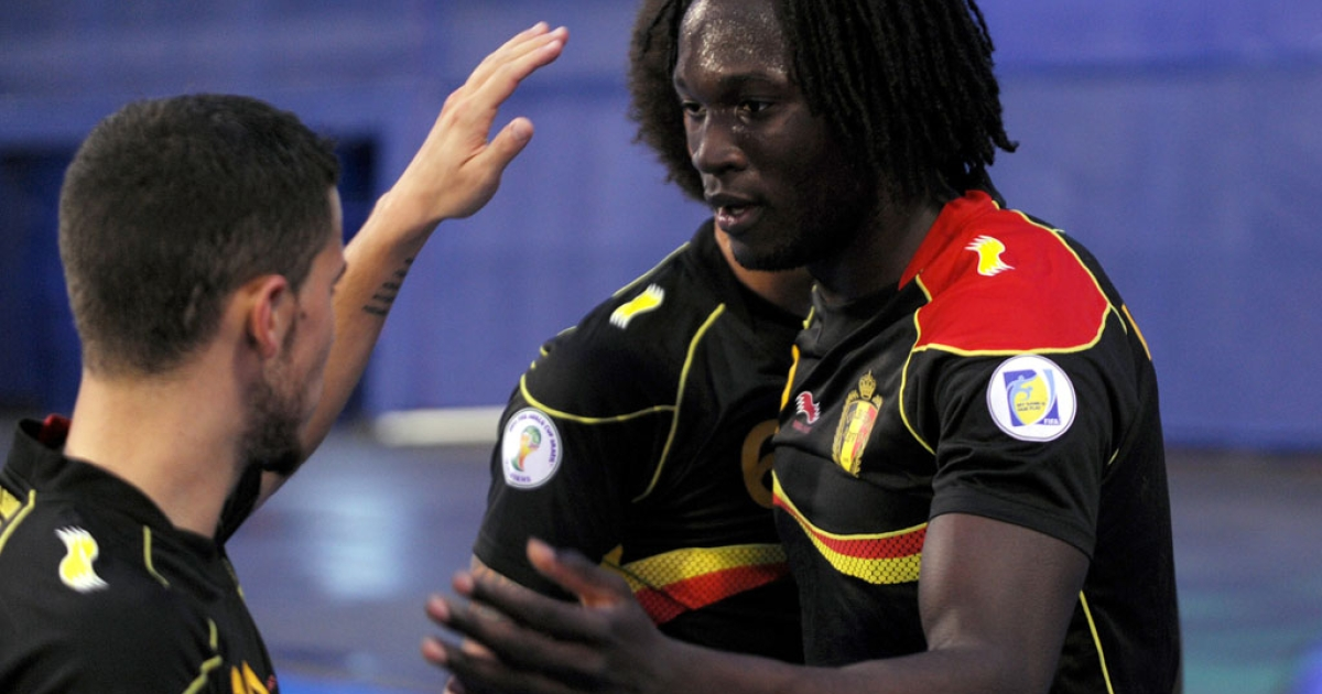 Belgium's Romelu Lukaku, right, celebrates with his teammates after scoring during a 2014 FIFA World Cup qualifying match against Croatia at Maksimir Stadium in Zagreb on Oct. 11 ,2013.</p>