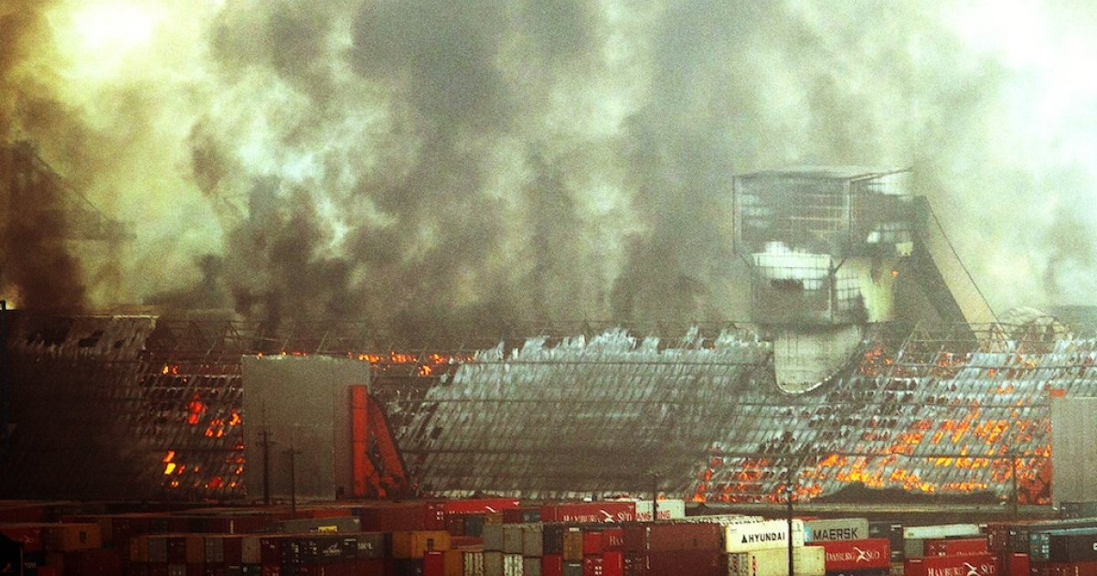 Four warehouses with sugar go up in flames at the port of Santos, the biggest in Latin America, some 60 km from São Paulo, Brazil on October 18, 2013.</p>