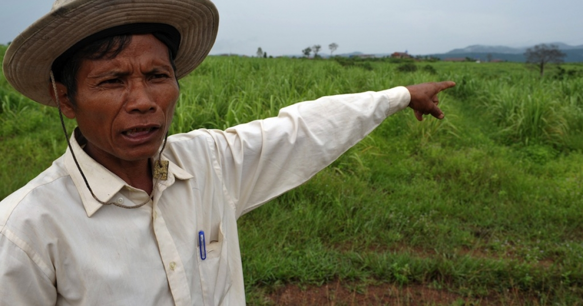 A Cambodian community leader Teng Kao points out a sugarcane field in Koh Kong province, about 250 kilometers southwest of Phnom Penh.  An EU scheme to boost trade with developing nations is fueling land grabs in Cambodia, activists say, with thousands evicted from their property to make way for a booming sugar industry.</p>