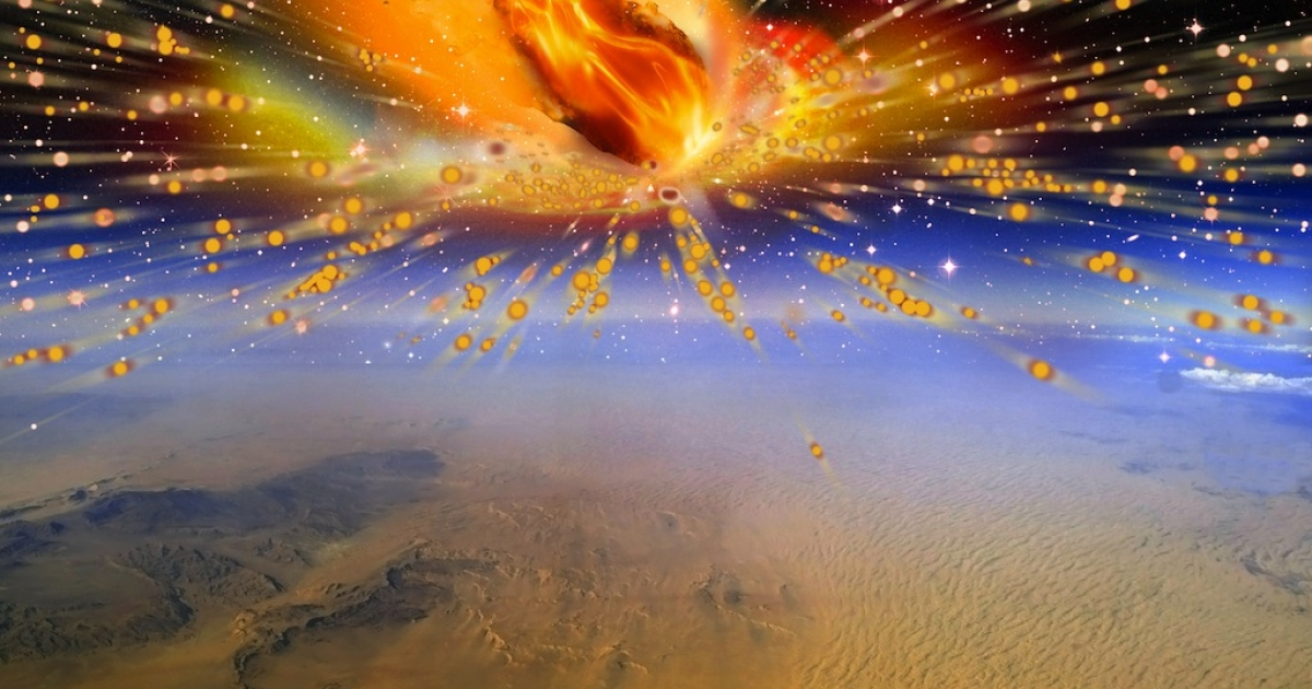 An artist's rendition of the comet exploding in Earth's atmosphere above Egypt.</p>