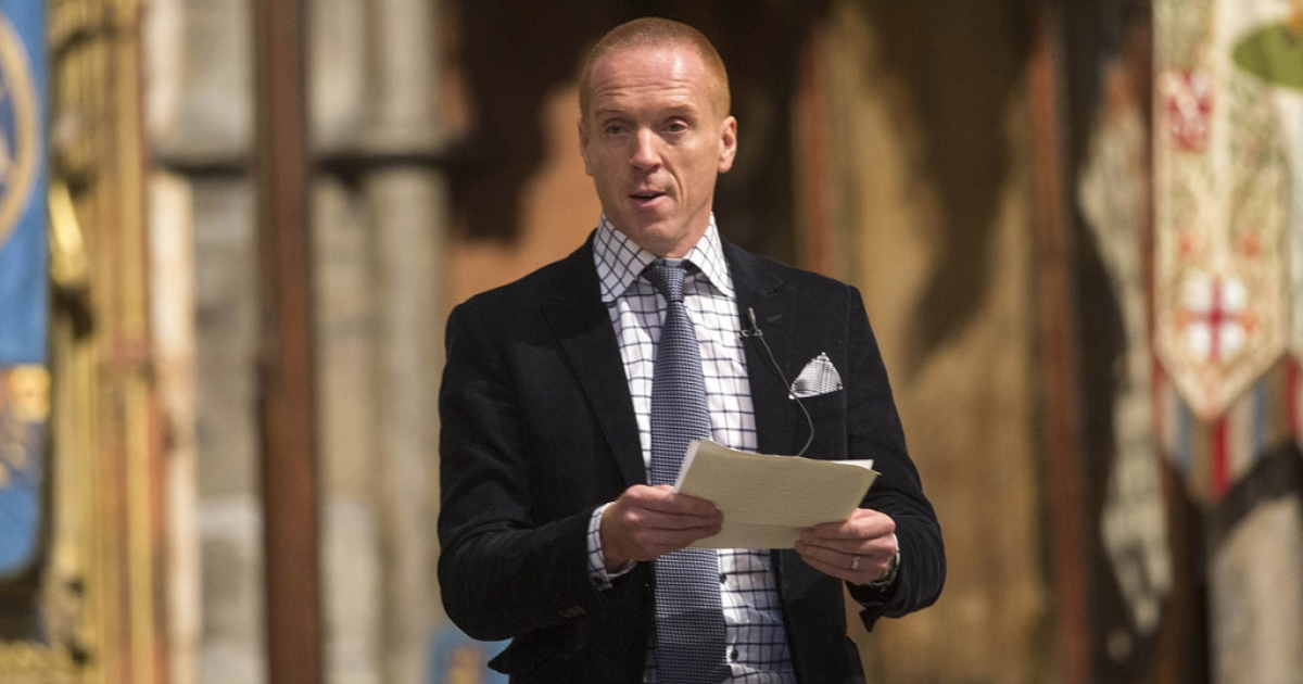 Actor Damien Lewis at Westminster Abbey in London, Oct. 16, 2013.</p>