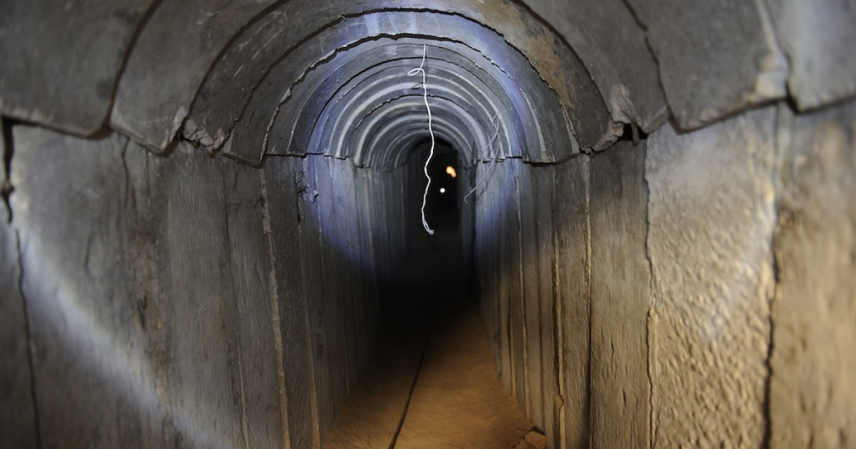 A view of a tunnel reportedly dug by Palestinians beneath the border between the Gaza Strip and Israel and recently uncovered by Israeli troops, on October 13, 2013.</p>