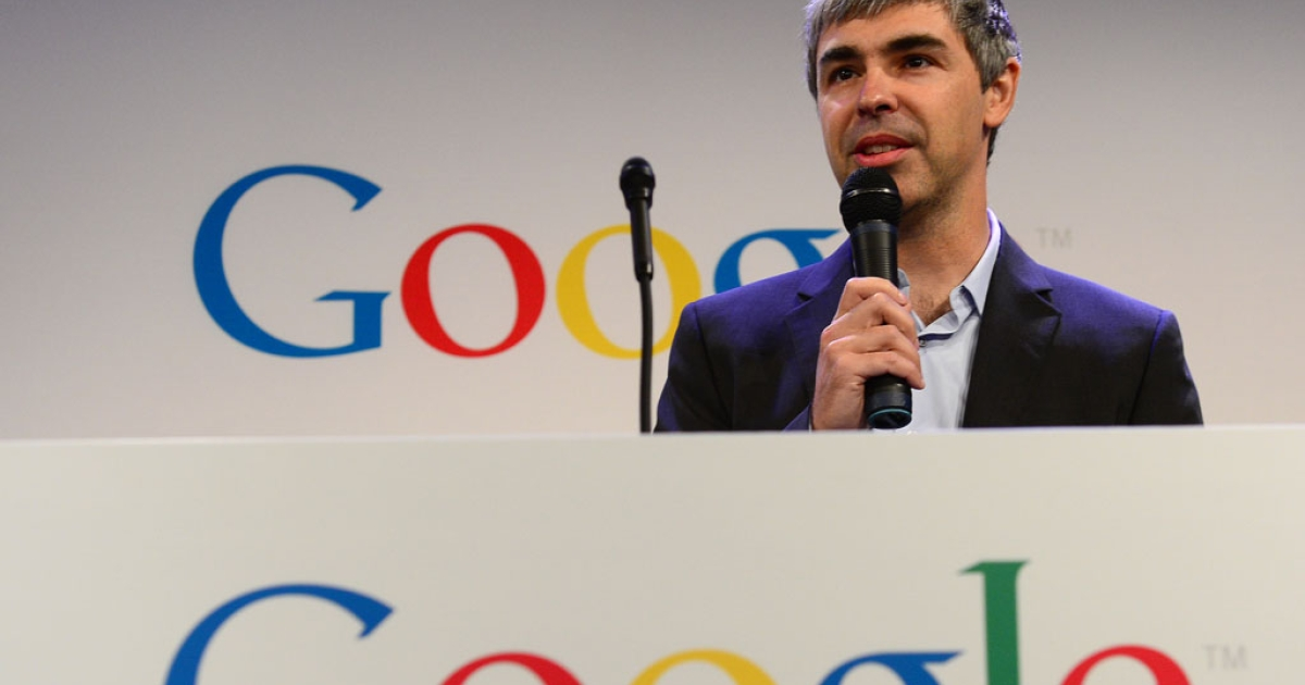 Google CEO Larry Page speaks at Google headquarters in New York on May 21, 2012.</p>