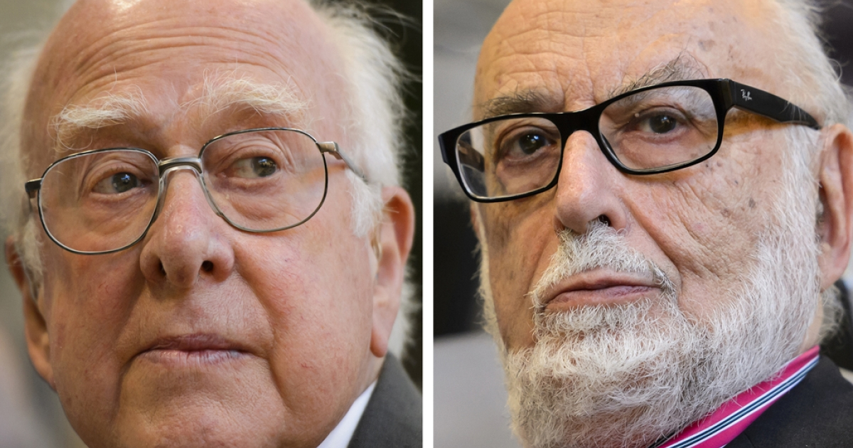 British theoretical physicist Peter Higgs (L) and Belgian theoretical physicist Francois Englert were awarded laureates of the 2013 Nobel Prize in Physics on October 8, 2013 at the Nobel Assembly at the Royal Swedish Academy of Sciences in Stockholm.</p>