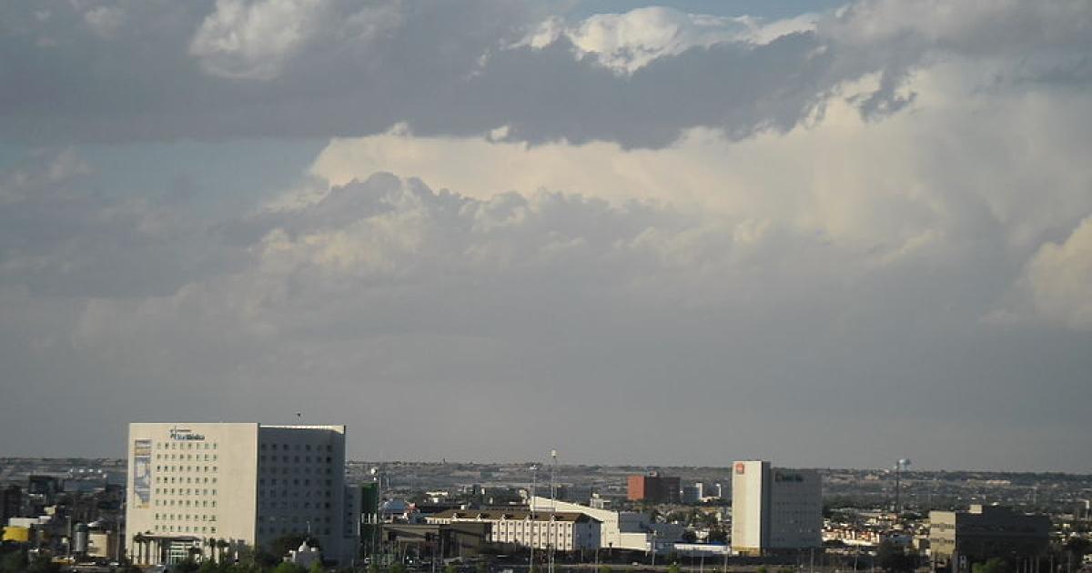 The skyline of Ciudad Juarez, Mexico.</p>