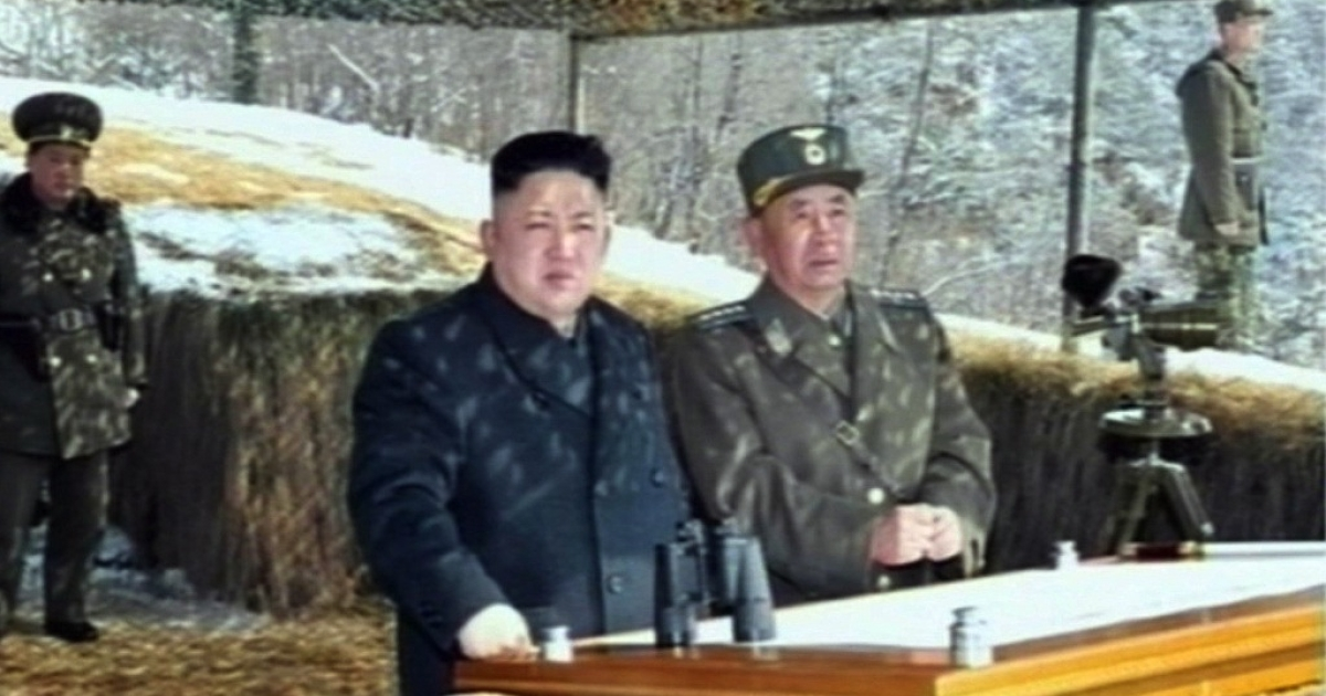 This video grab taken from North Korean TV on March 20, 2013 shows leader Kim Jong-Un's overseeing a live fire military drill. An American minister accuses the regime of massacring prisoners, although the evidence is unclear.</p>