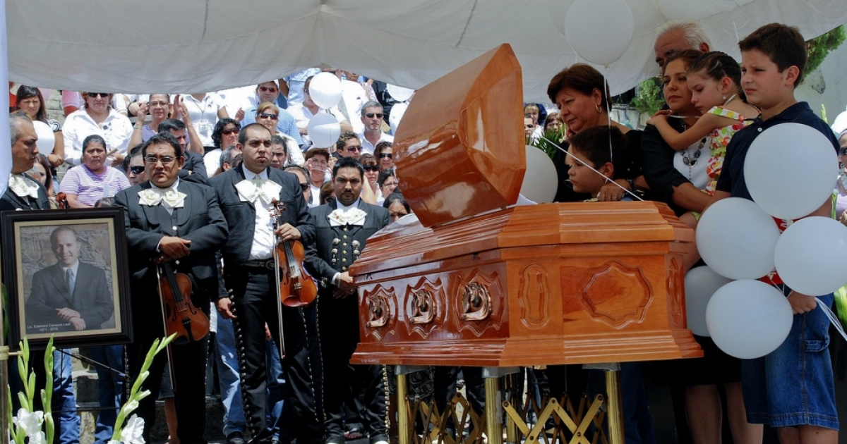 The August 2010 funeral for Edelmiro Cavazos, former mayor of Santiago in Nuevo Leon state, Mexico, one of dozens of town hall leaders slain in the past six years of grisly drug war violence.</p>