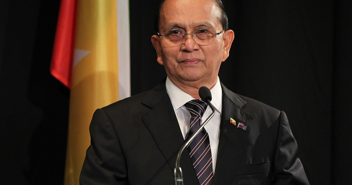 President U Thein Sein of Myanmar, pictured meets with New Zealand Prime Minister John Key on March 15, 2013 in Auckland, New Zealand.</p>