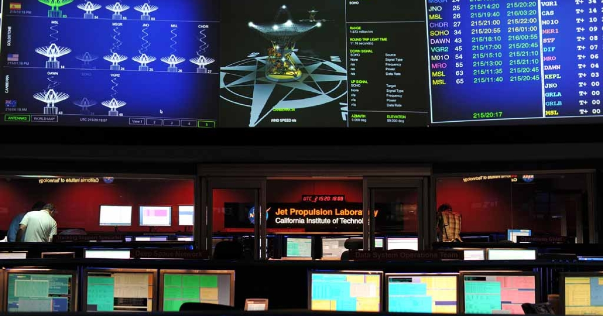 NASA's Mars Science Laboratory mission members work in the data processing room beside Mission Control at the Jet Propulsion Laboratory in Pasadena, Calif., on August 2, 2012, ahead of the landing of the Mars rover Curiosity.</p>