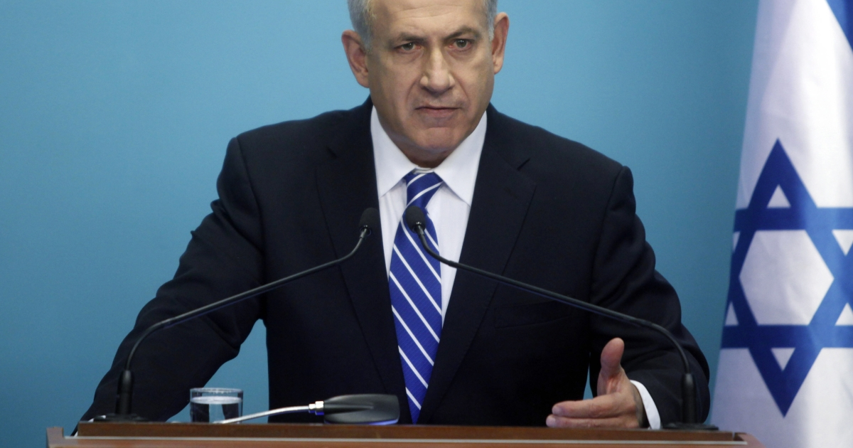 Israeli Prime Minister Benjamin Netanyahu makes a statement to the press in 2012 in Jerusalem, Israel.</p>
