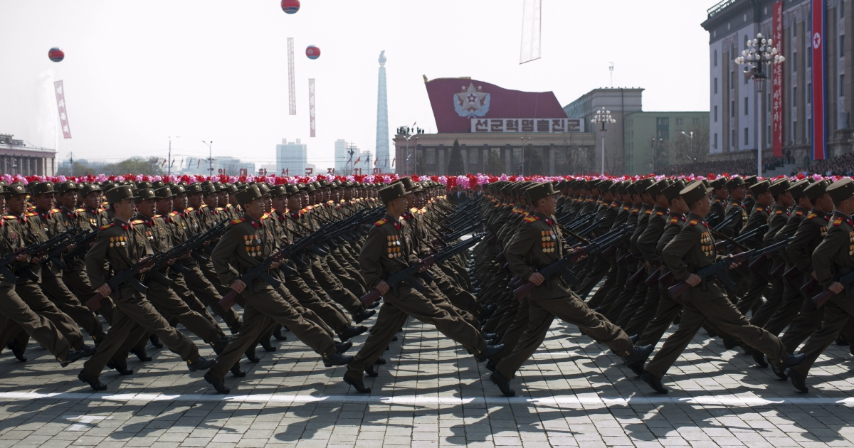 North Korean soldiers march in a military parade, in April 2012.</p>