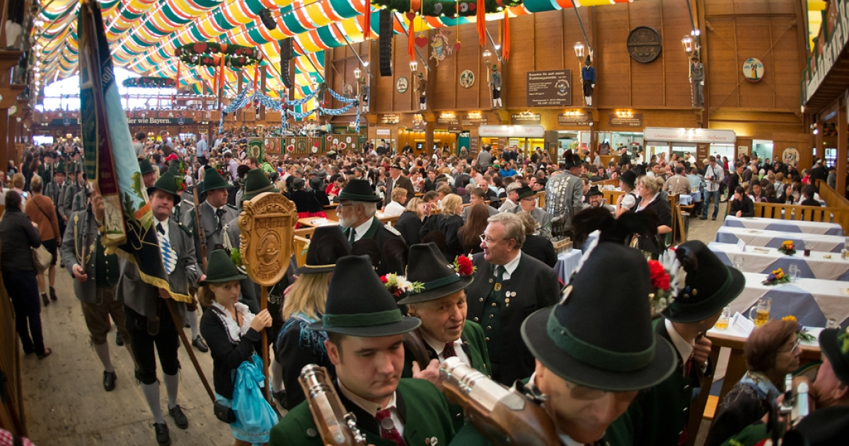 A beer-tent on the last day of Oktoberfest 2013 at Theresienwiese in Munich, Germany, Oct. 6, 2013.</p>