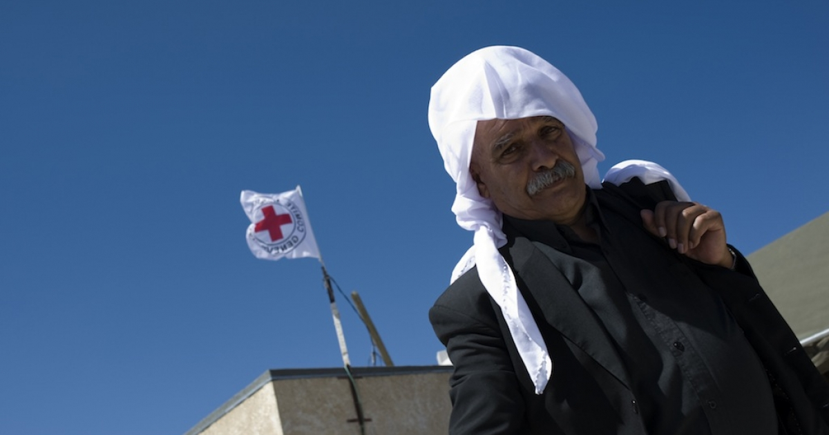 The International Red Cross shows Druze pilgrims crossing from the Israeli occupied Golan Heights into Syria on Sept. 15, 2011.</p>