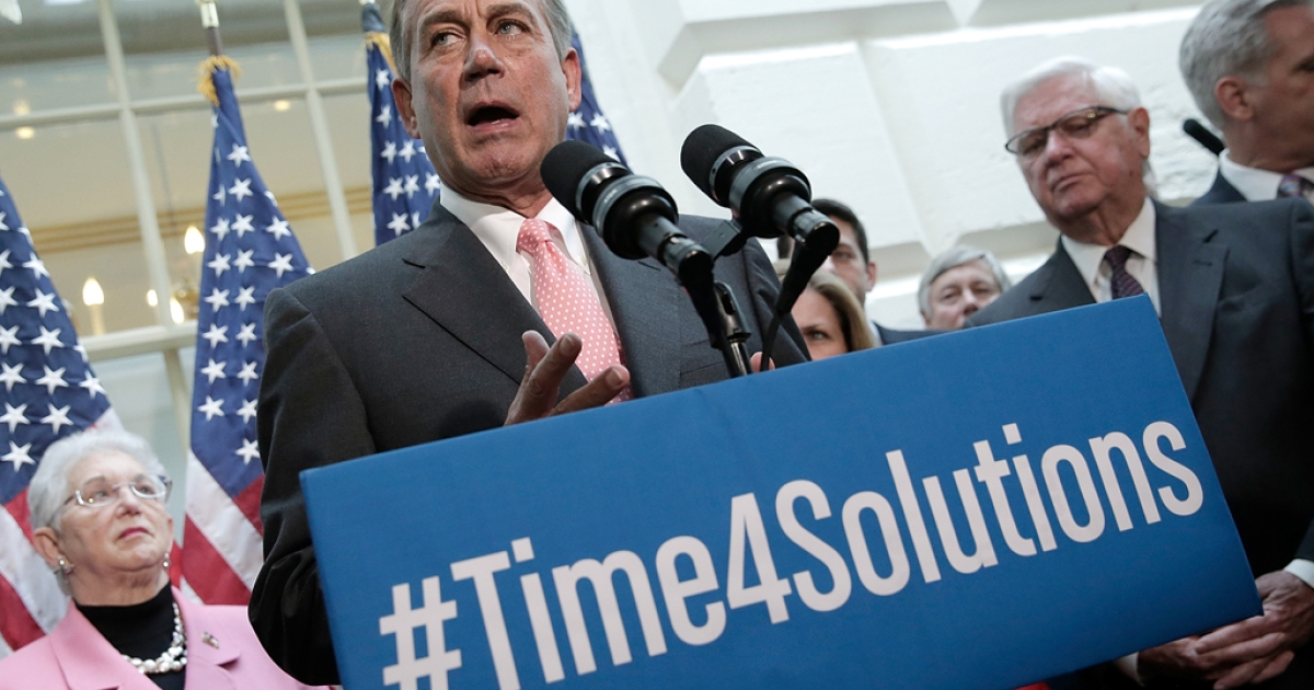 Speaker of the House John Boehner (R-OH) speaks during a press conference on October 10, 2013 in Washington, DC.</p>