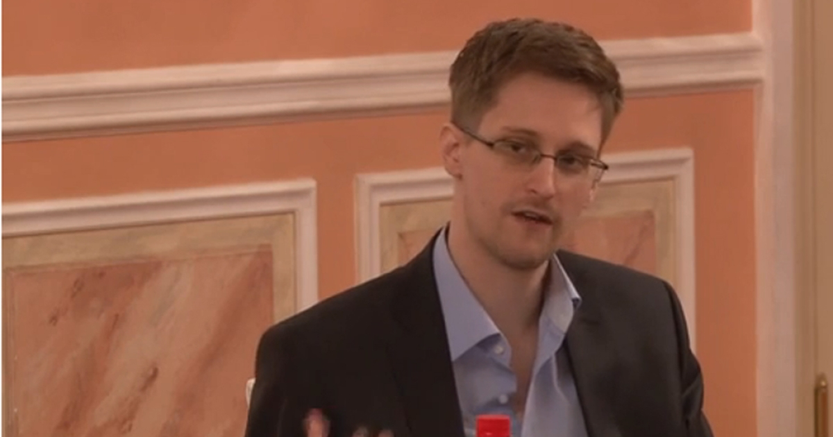 Edward Snowden speaking in Russia after receiving an award for his leaks.</p>