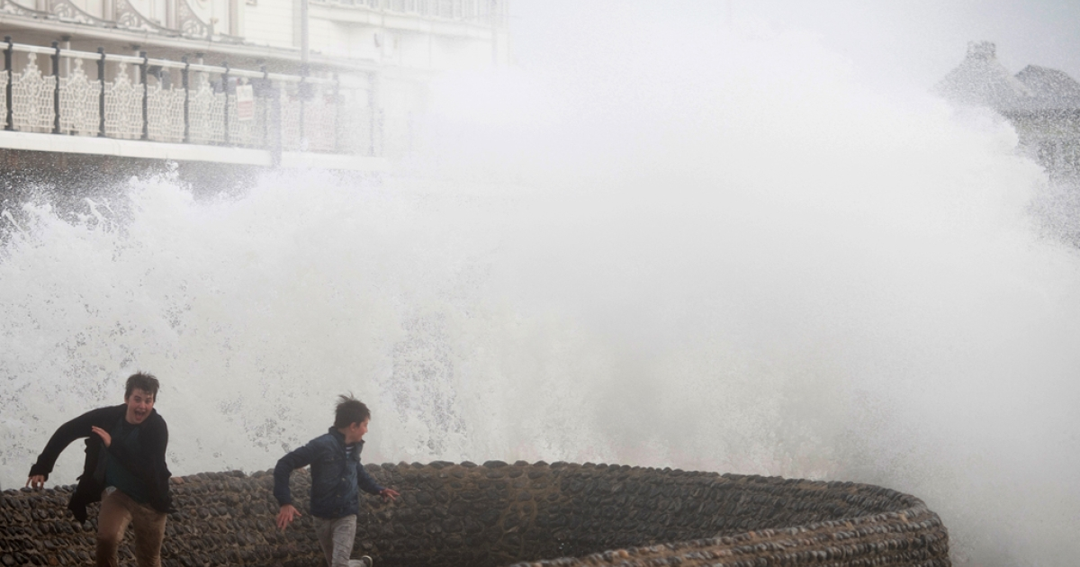 The Brighton seafront, in southern England on October 27, 2013 as a predicted storm starts to build.</p>