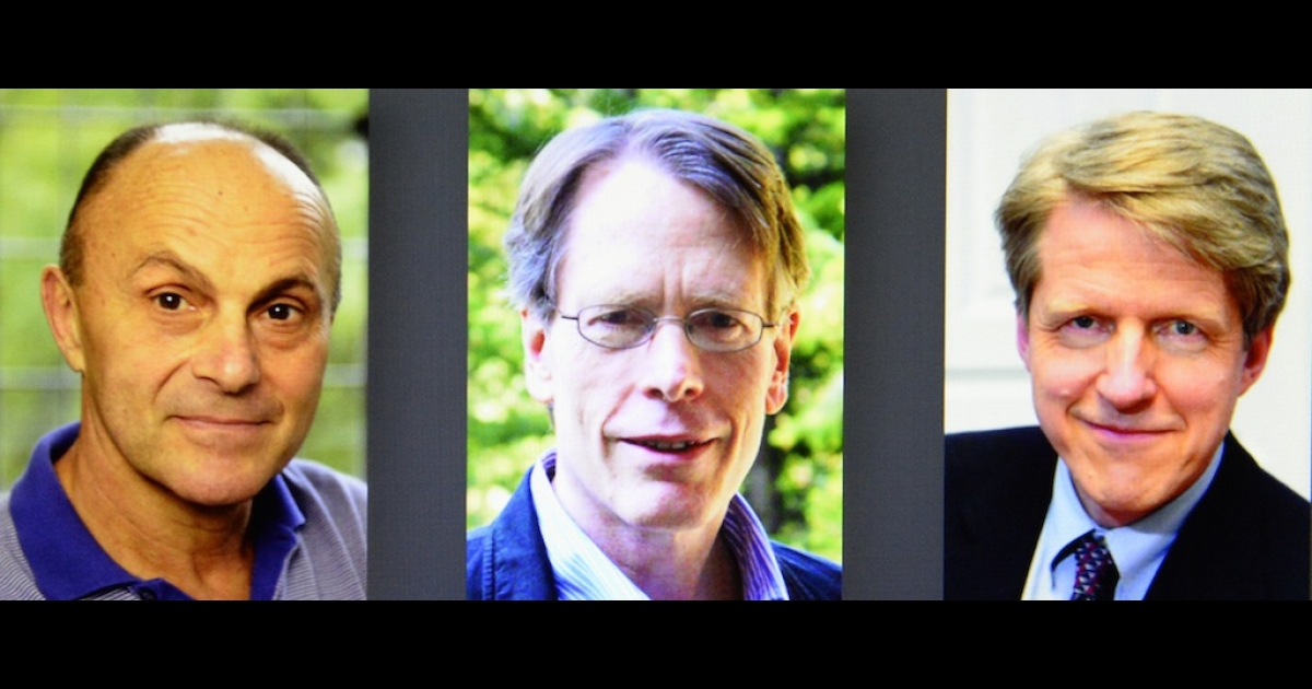 (L-R) Eugene F Fama, Lars Peter Hansen and Robert J Shiller are shown at a press conference at the Royal Swedish Academy of Sciences, Stockholm, on Oct. 14, 2013.</p>