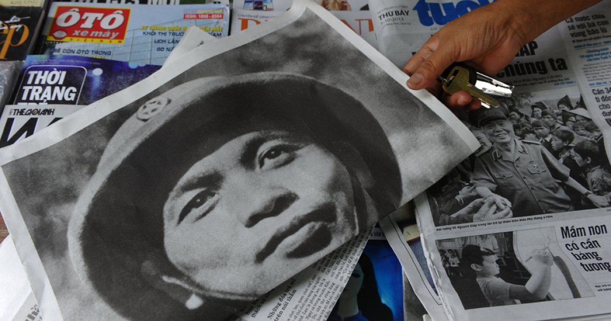 A local newspaper carries the story of the death of Vietnam's legendary Gen. Vo Nguyen Giap in Hanoi on Oct. 5, 2013.</p>