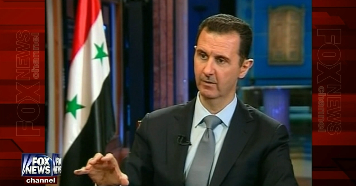 Syrian President Bashar al-Assad speaks during an interview with Fox News, aired on September 18, 2013.</p>