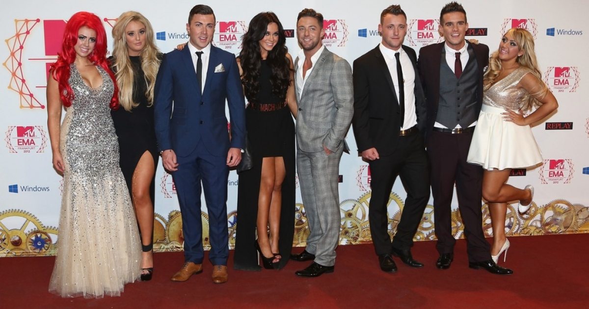 'Geordie Shore' cast members Holly Hagan, Vicky Pattison, Ricci Guarnaccio, Charlotte-Letitia Crosby, Gaz Beadle, James Tindale, Scott Timlin and Sophie Kasaei attend the MTV EMAs 2012 in Frankfurt on November 11, 2012.</p>