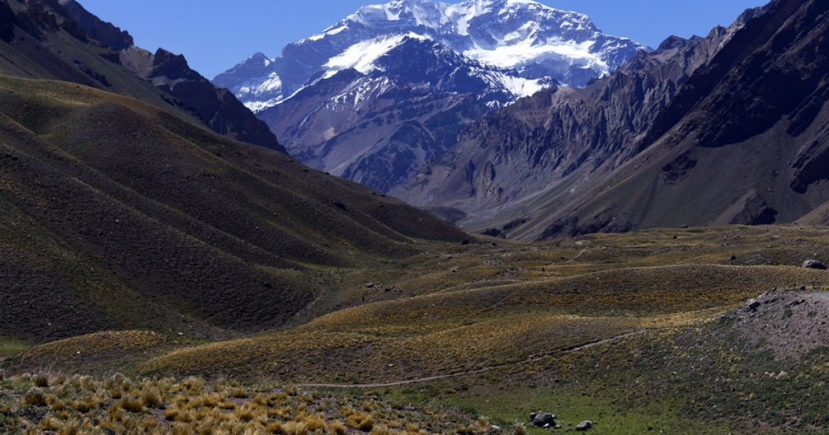 The Aconcagua mountain in Argentina on February 2, 2013. A Uruguayan man was rescued from the Andes four months after becoming stranded there, Argentine media reported on Sept. 9, 2013.</p>