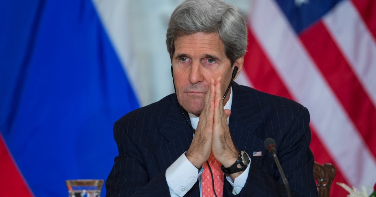 US Secretary of State John Kerry listens to Russian Foreign Minister Sergei Lavrov deliver remarks during meetings on Aug. 9, 2013, in Washington, DC.</p>