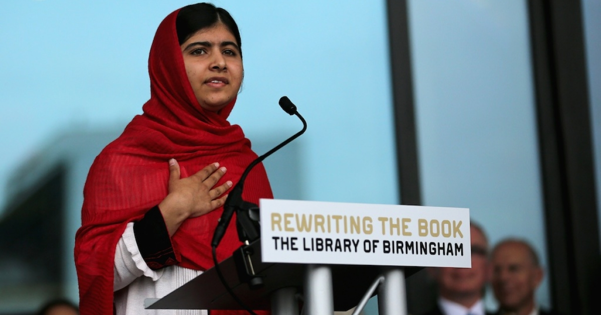 Malala Yousafzai opens the new Library of Birmingham at Centenary Square on September 3, 2013 in Birmingham, England. The new futuristic building was officially opened by 16-year-old Malala Yousafzai who was attacked by Taliban gunmen on her school bus near her former home in Pakistan in October 2012.</p>