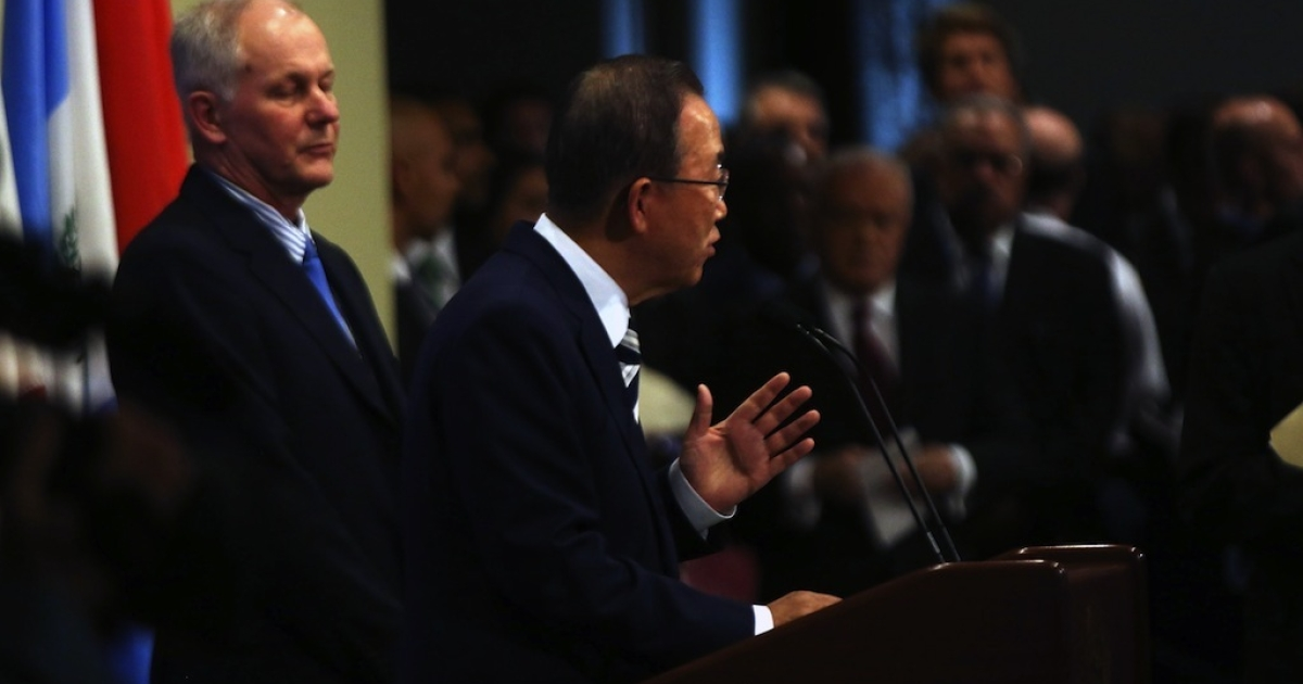 United Nations Secretary-General Ban Ki-moon speaks to the media about the conclusion of the U.N. inspectors' report on chemical weapons use in Syria after a Security Council meeting at the United Nations headquarters on September 16, 2013 in New York City.</p>