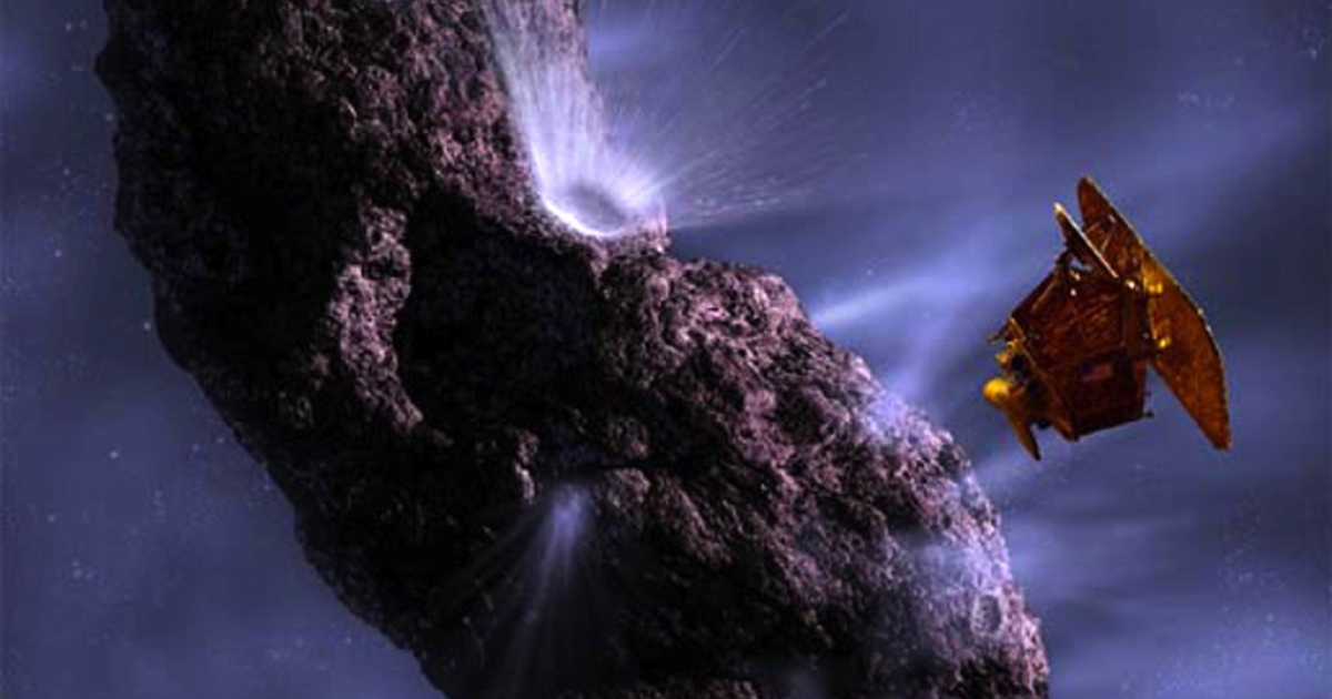 This artist's impression shows the deep impact spacecraft as it fires an impactor into comet Temple 1.</p>