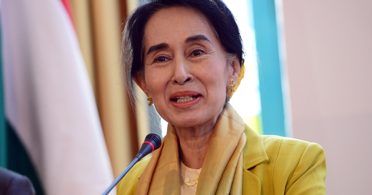 Myanmar's opposition leader Aung San Suu Kyi at the Hungarian foreign ministry in Budapest on September 13, 2013 during her international press conference.</p>