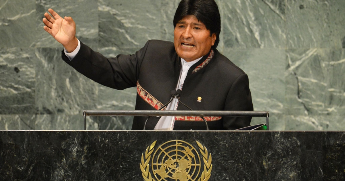 Evo Morales, president of Bolivia, speaks during the 67th session of the United Nations General Assembly September 26, 2012 at UN headquarters in New York.</p>
