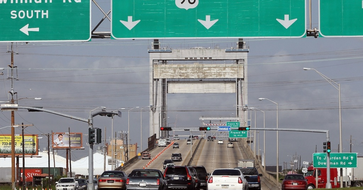 Cars pass over the Danziger Bridge in New Orleans on July 14, 2010.</p>